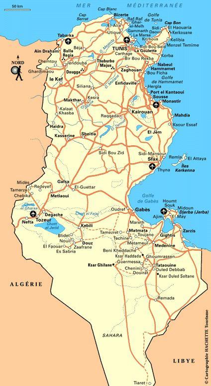 Carte routiere de la Tunisie