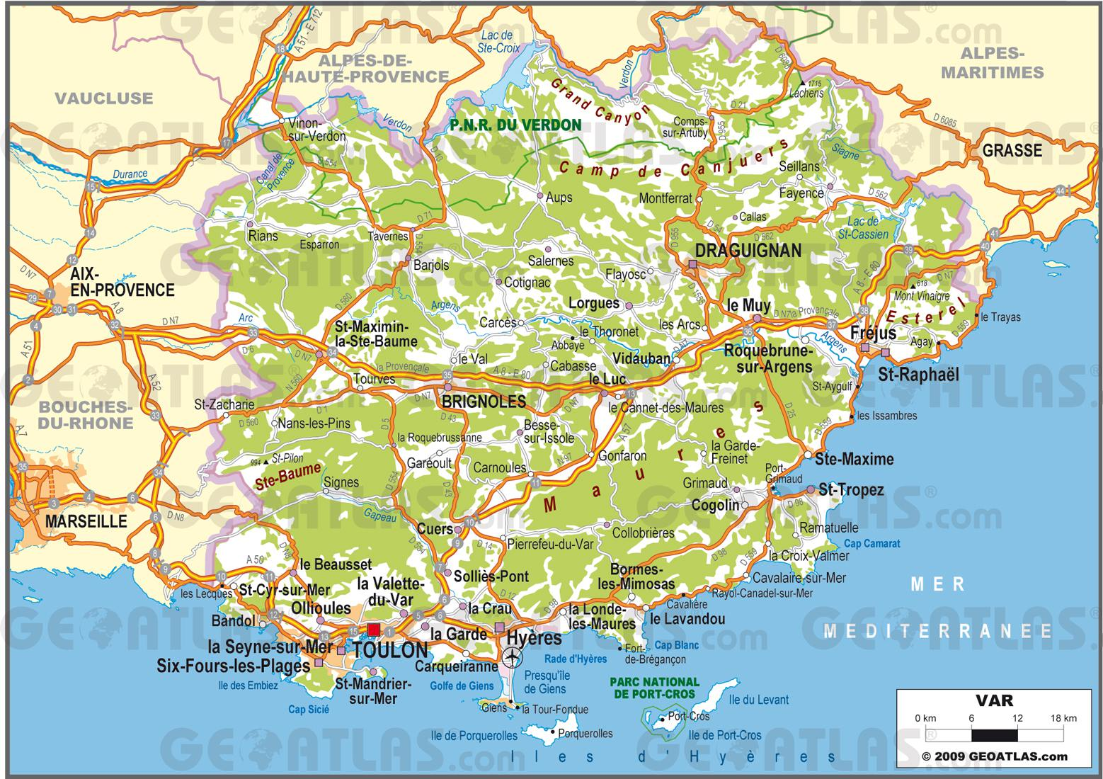 Carte du Var   Carte du département du Var en France   Sites