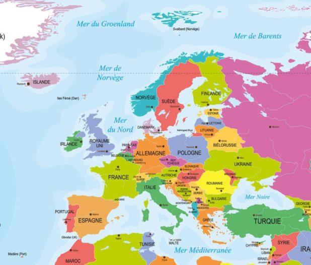 Carte simple de l'Europe