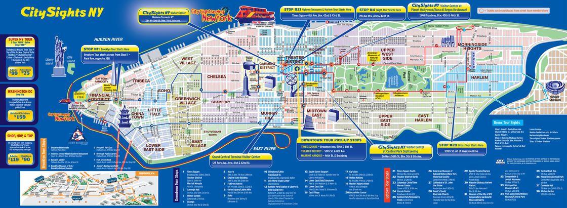 Carte des sites touristiques à New York