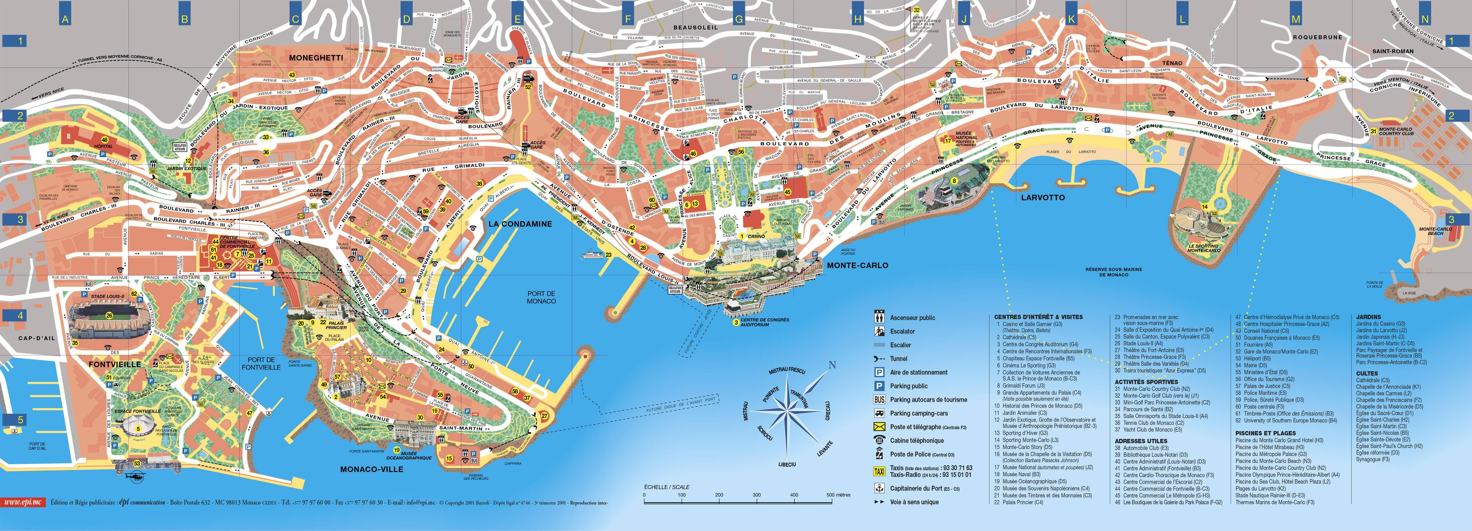 Carte des sites touristiques de Monaco