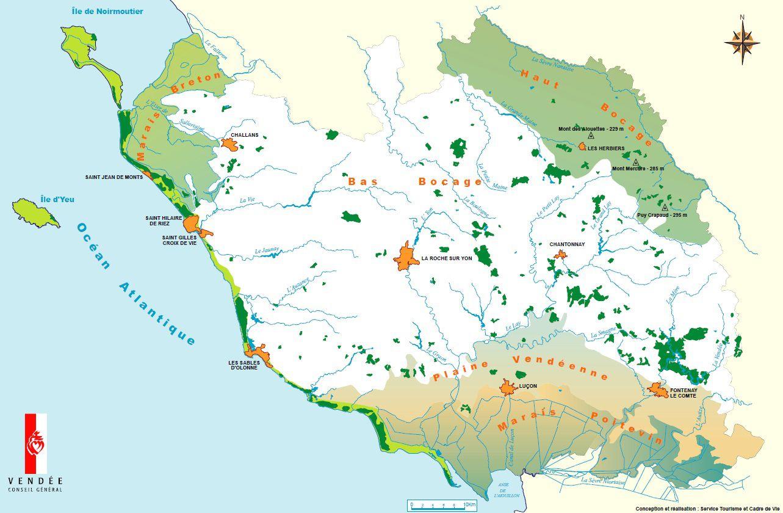 Carte des sites naturels de Vendée