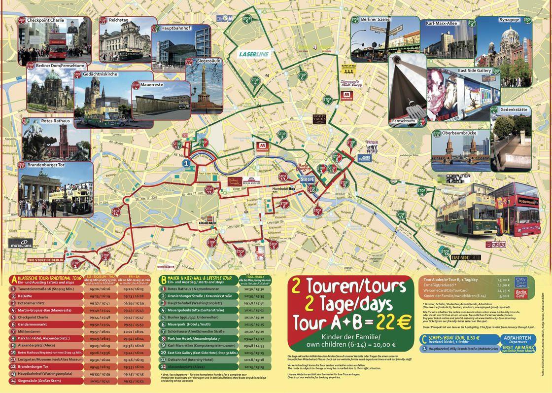 Carte des sites touristiques de Berlin