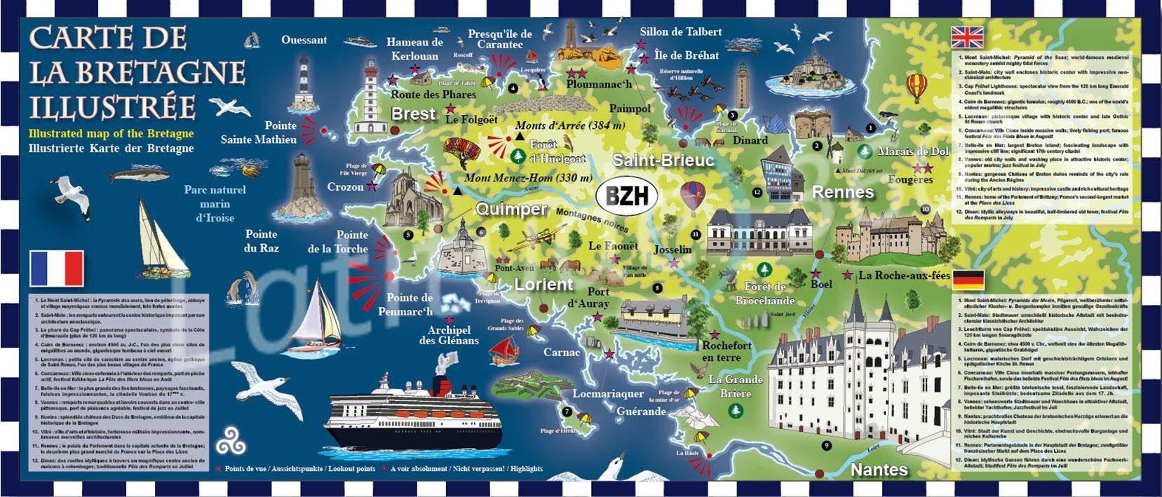Carte de la Bretagne   Villes, relief, sites touristiques