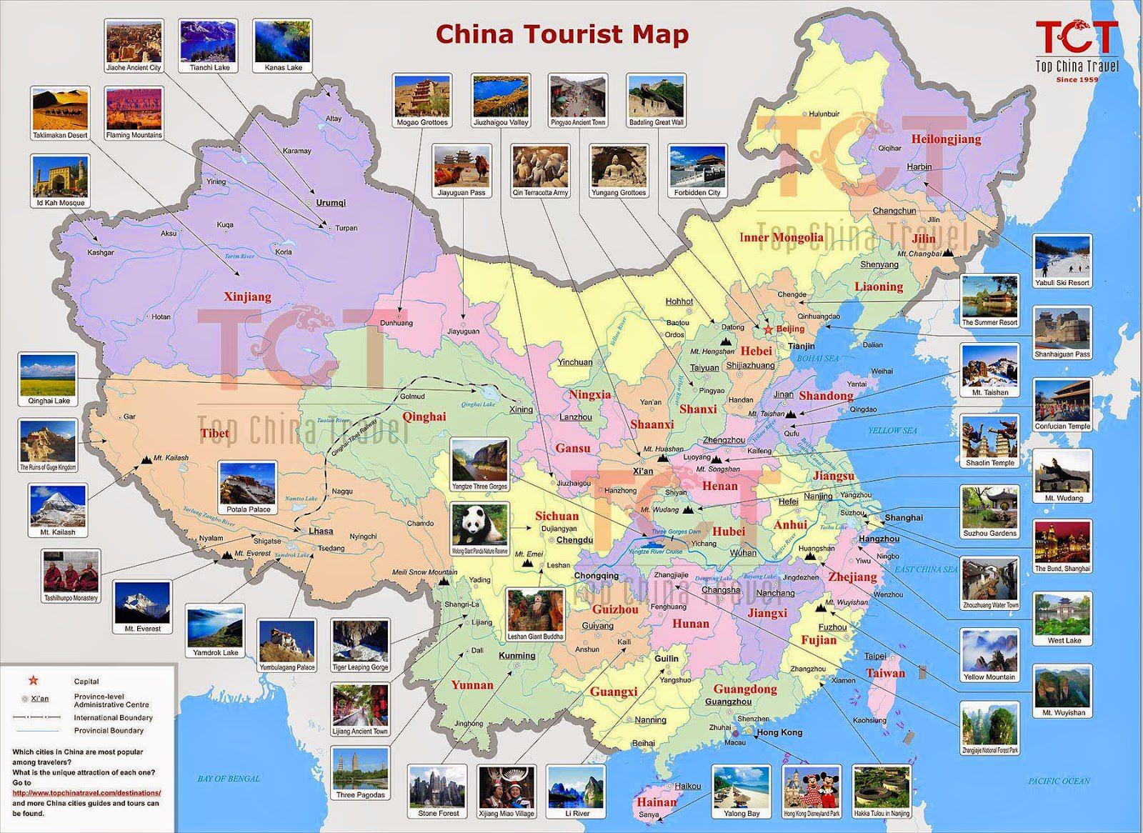 Carte des sites touristiques en Chine