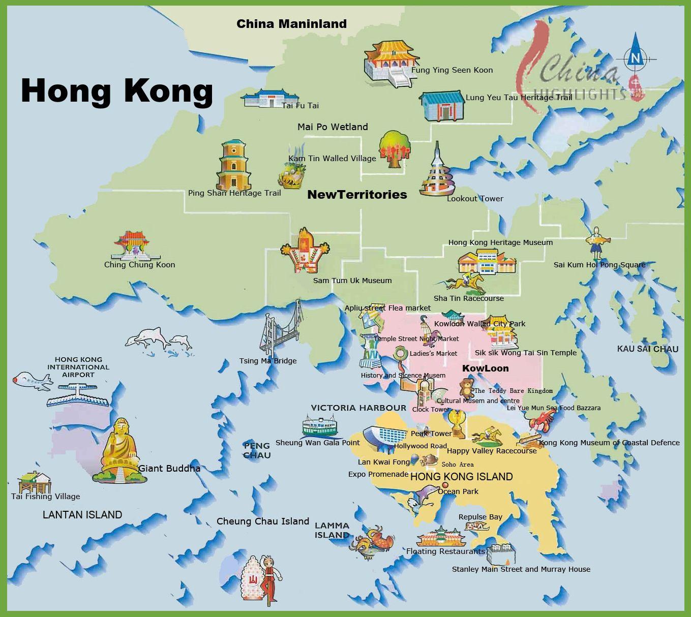 Carte des sites touristiques de Hong Kong