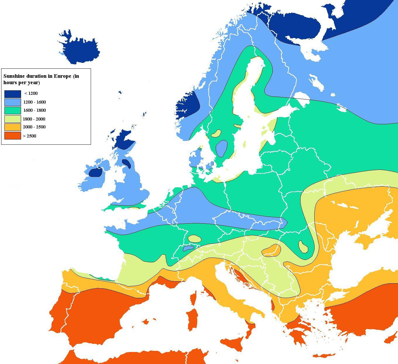 Carte du taux d'ensoleillement de l'Europe