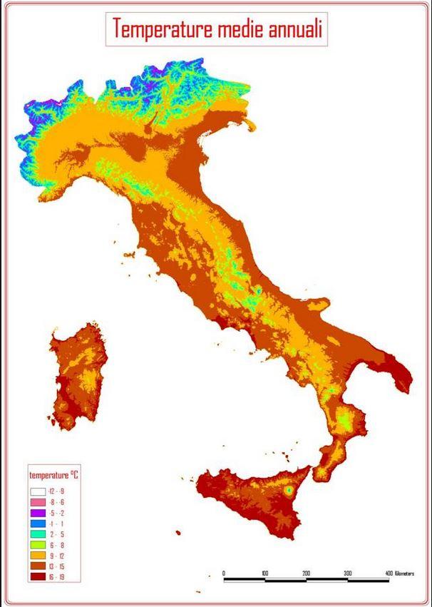 Carte des témpératures en Italie