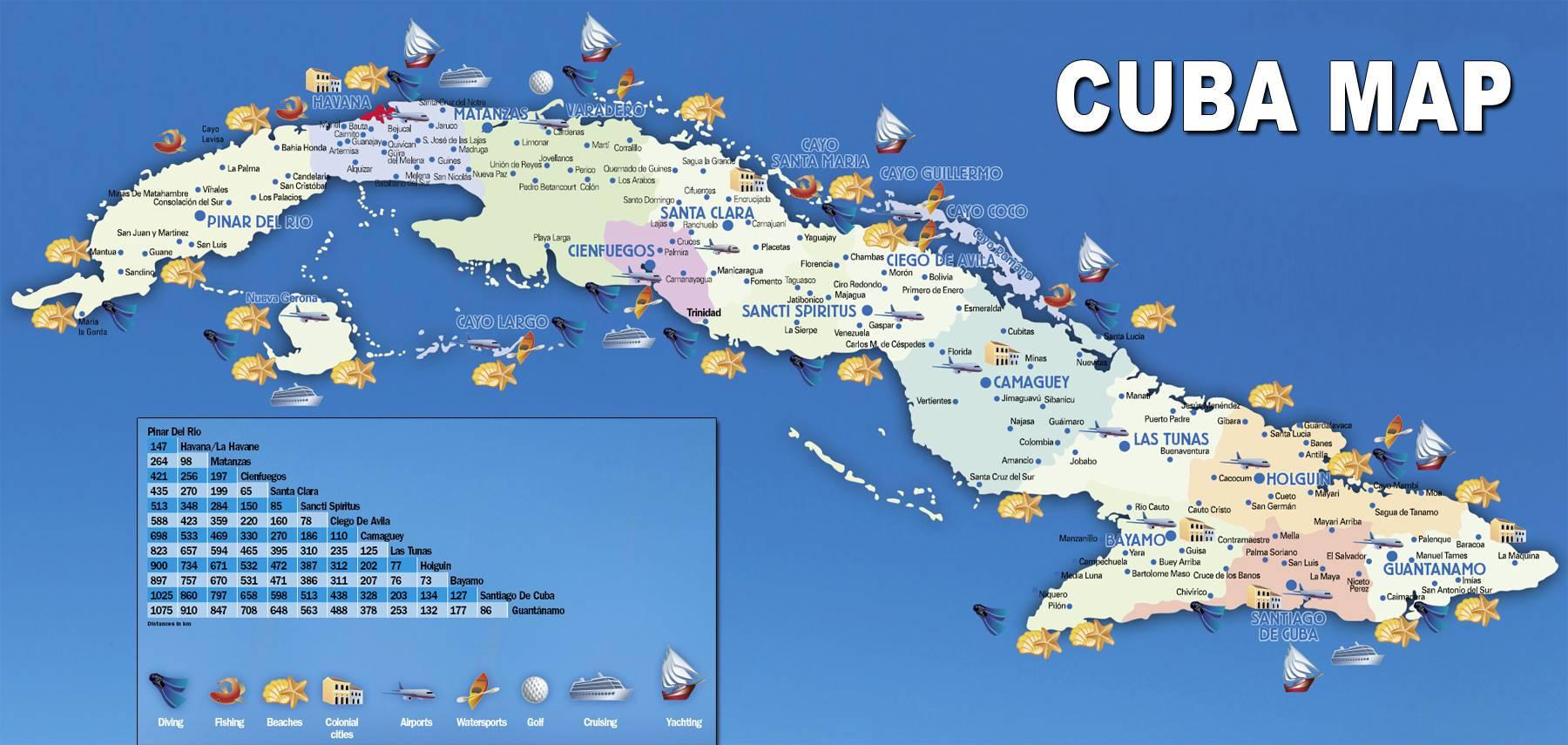 Carte de Cuba   Plusieurs cartes du relief, des villes, routes ou