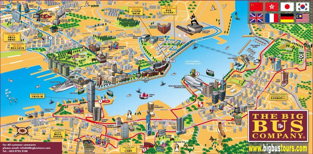 Carte touristique de Hong Kong