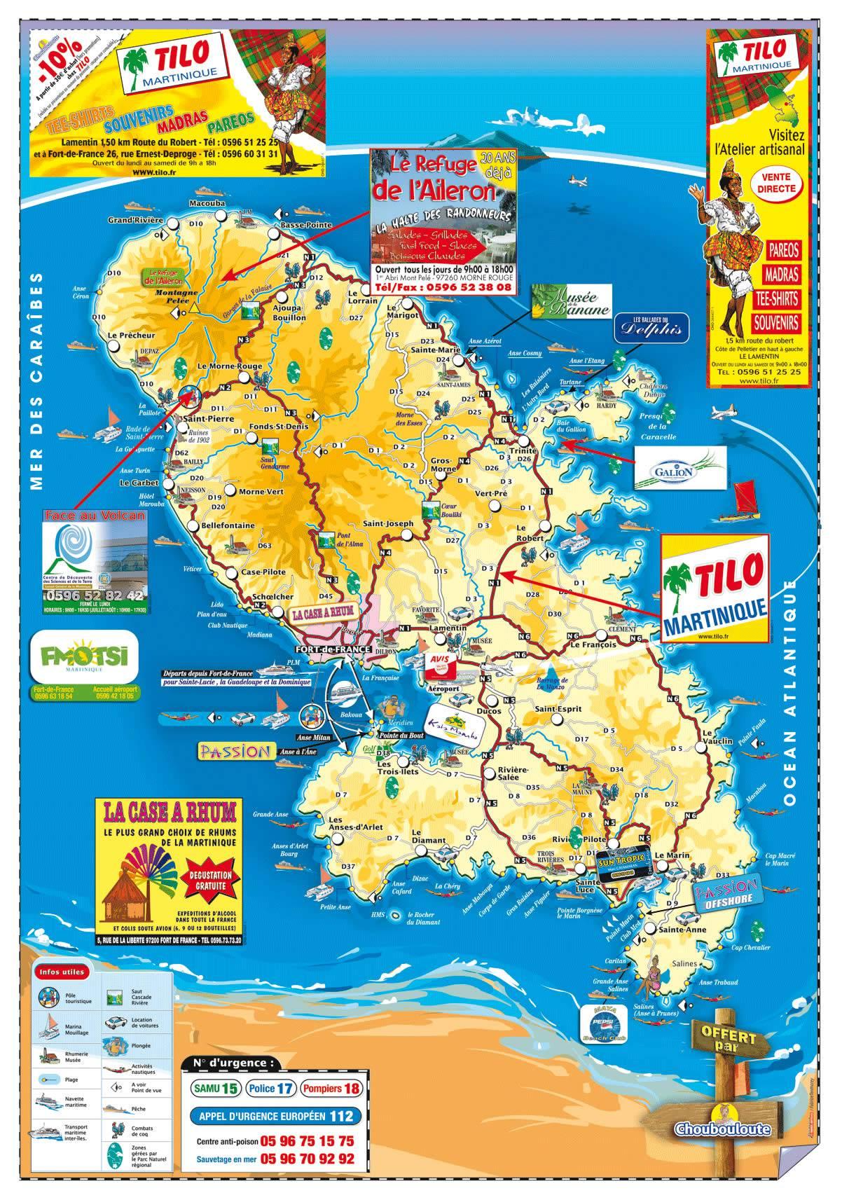 Carte de la Martinique   Découvrir les villes, le relief, les