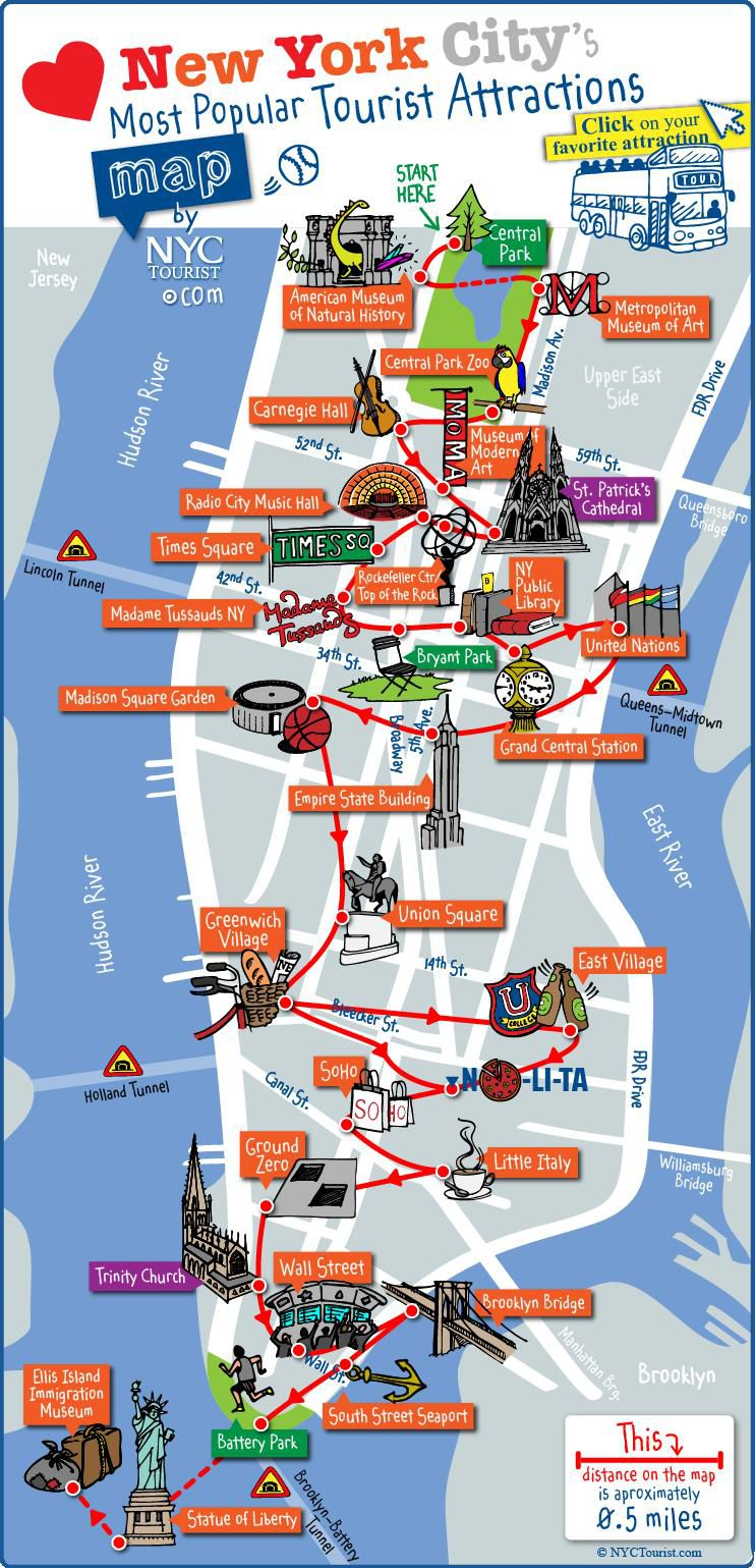 Carte touristique de New York