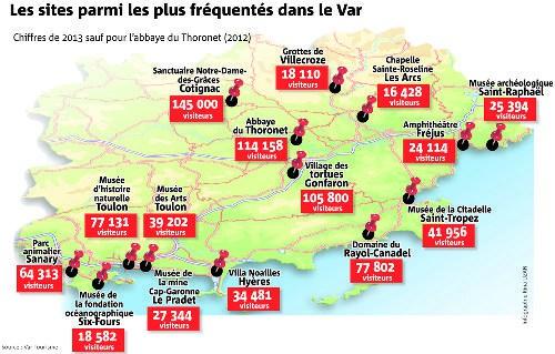 Carte du Var   Carte du département du Var en France   Sites