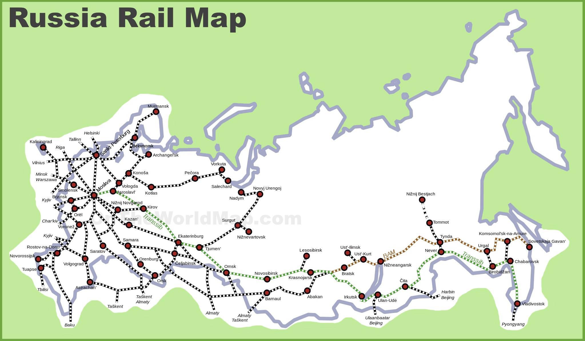 Carte du train en Russie (réseau ferroviaire)