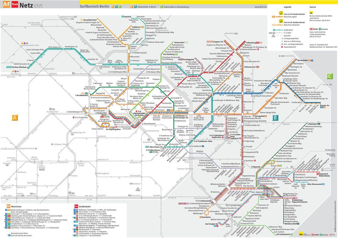 Carte tramway de Berlin