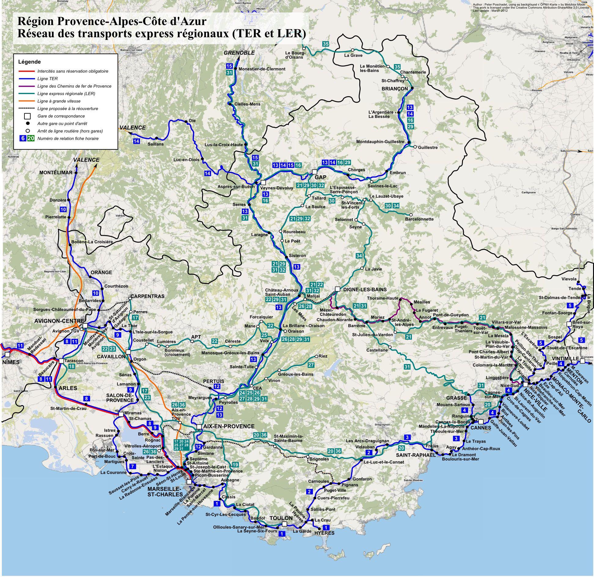 Carte des transports en PACA (Provence Alpes Côte d'Azur)