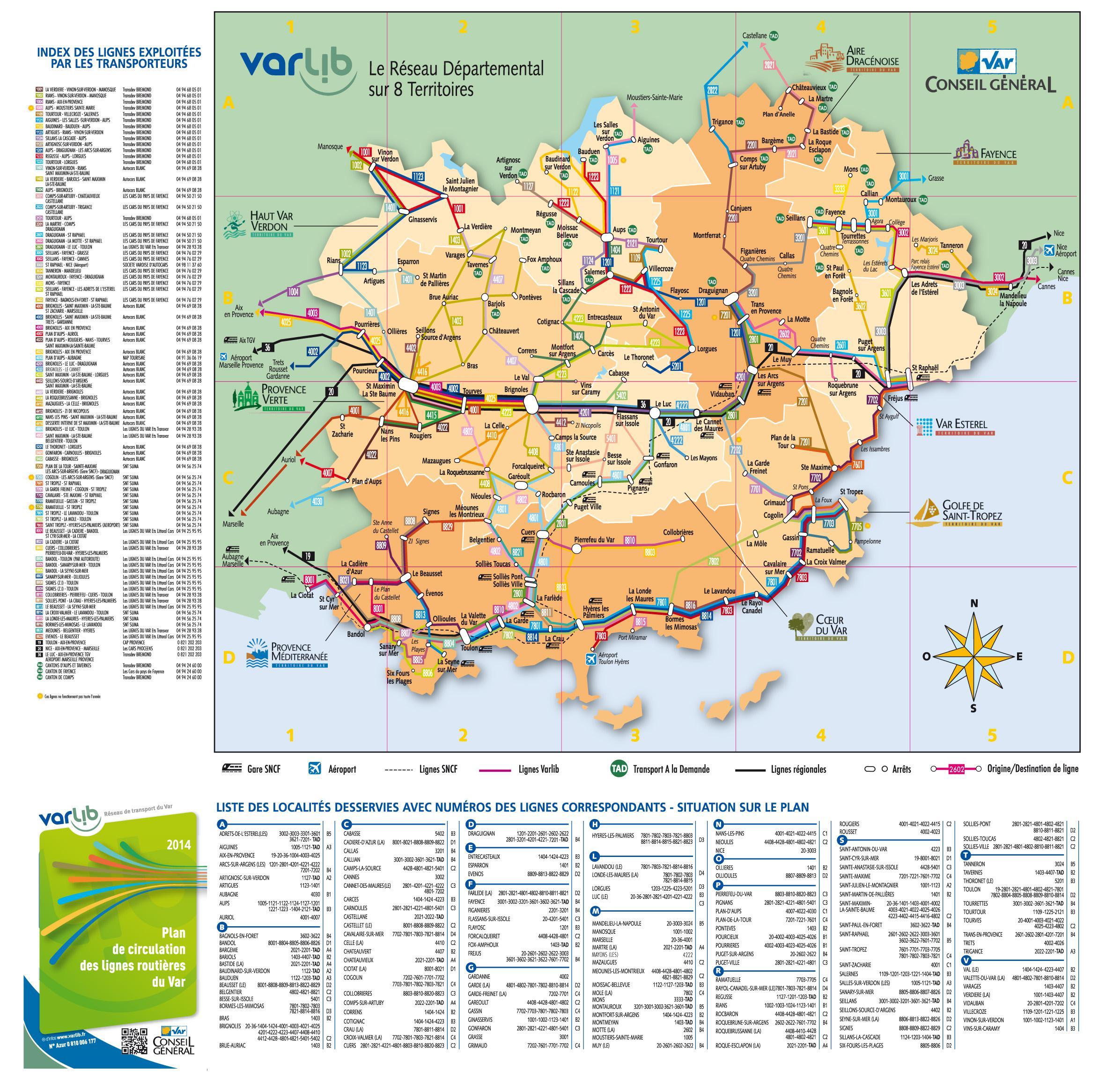 Carte des transports du Var