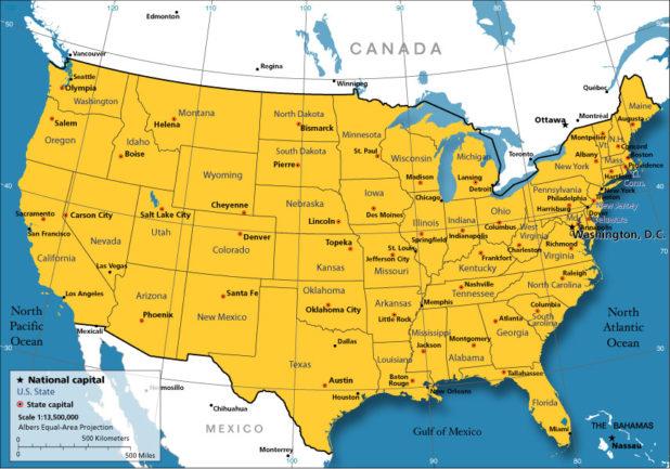 Carte des USA (États-Unis)