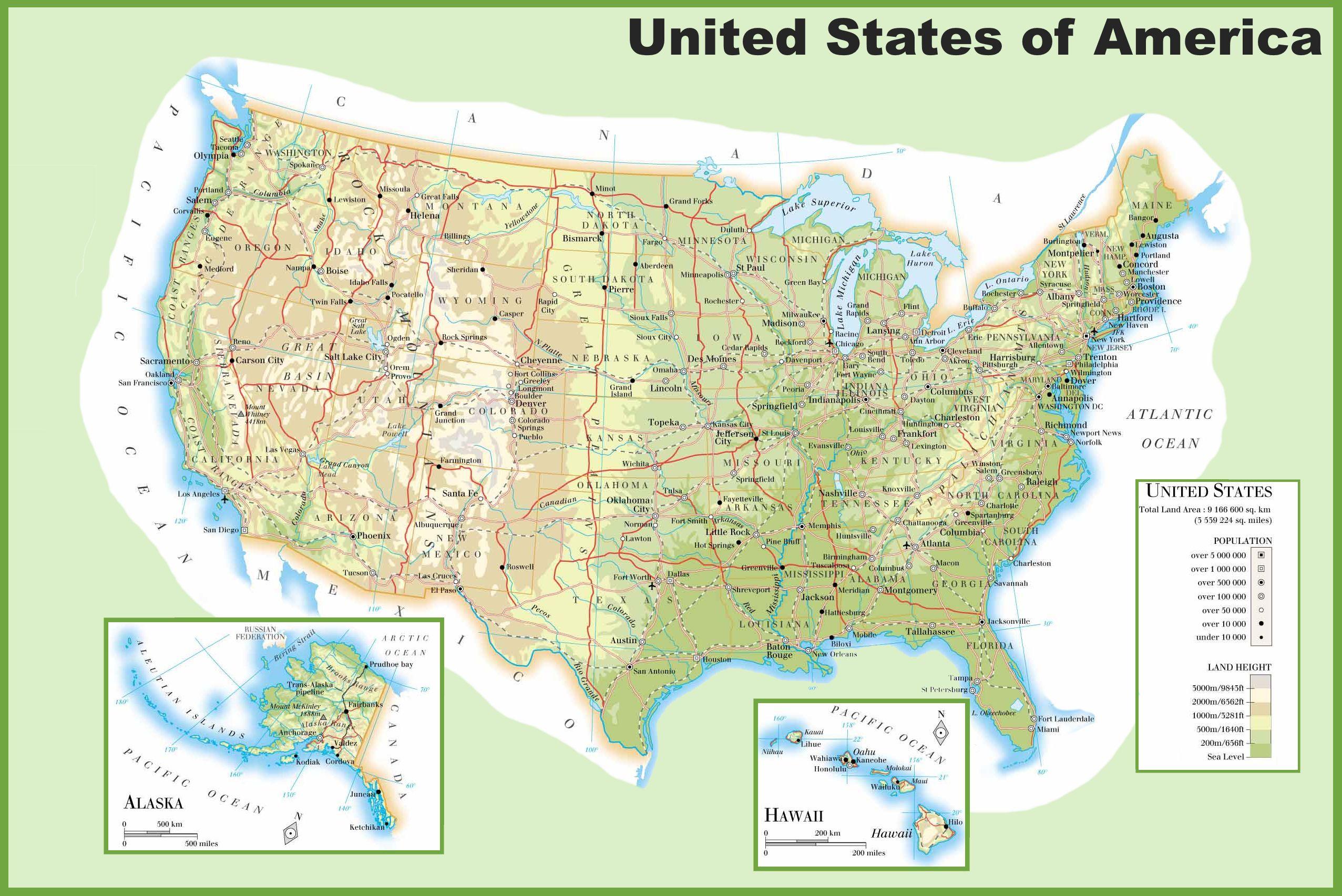 Carte Routiere Usa Cote Ouest.Carte Des Usa Etats Unis Cartes Du Relief Villes