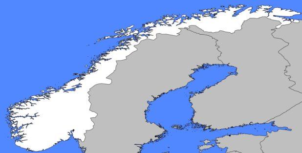 Carte vierge de la Norvège