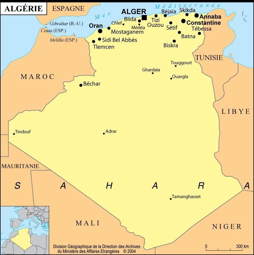 Carte de l'Algérie