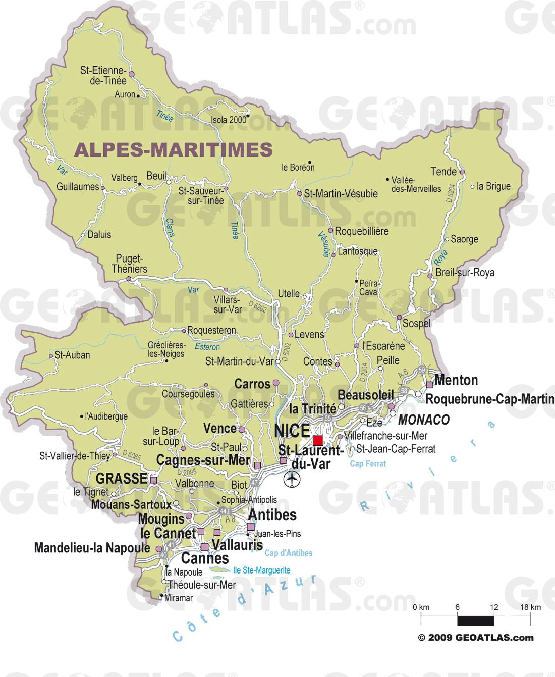 Carte des villes des Alpes-Maritimes