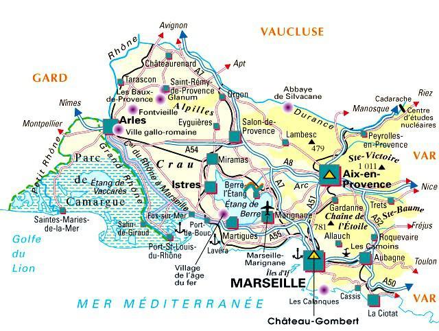 Carte des bouches du rh ne communes d taill e relief for Chambre de commerce bouches du rhone