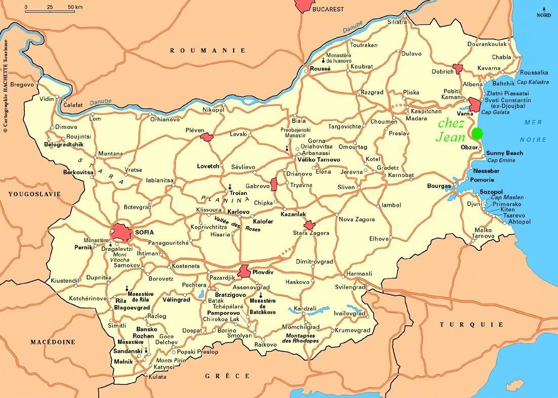 Carte des villes de la Bulgarie