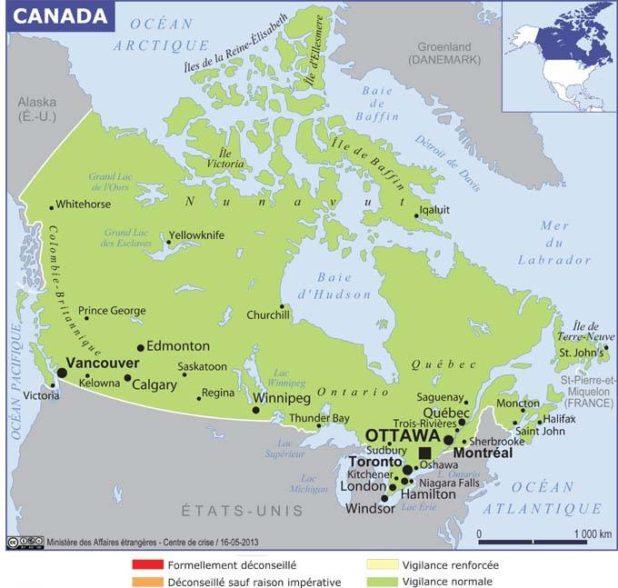 Carte des villes du Canada
