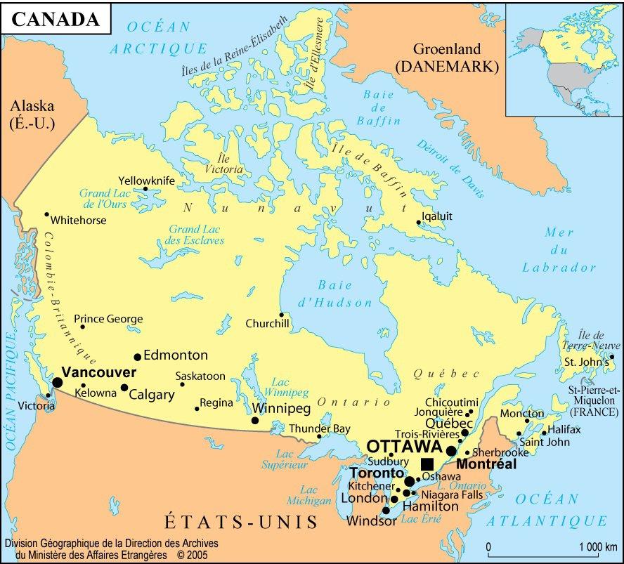 Carte Du Canada Avec Les Villes.Carte Du Canada Cartes Des Villes Du Relief