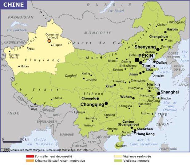 Carte des villes de la Chine