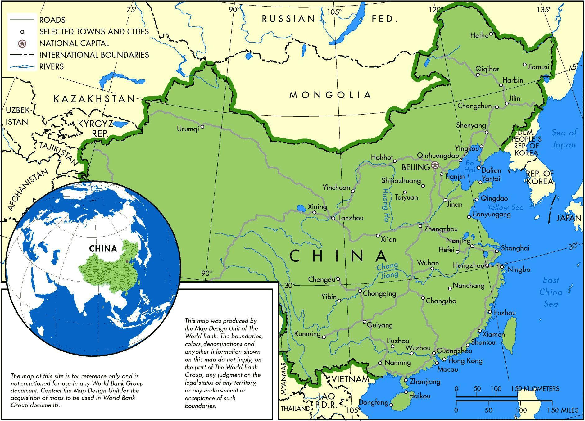 Carte des villes en Chine