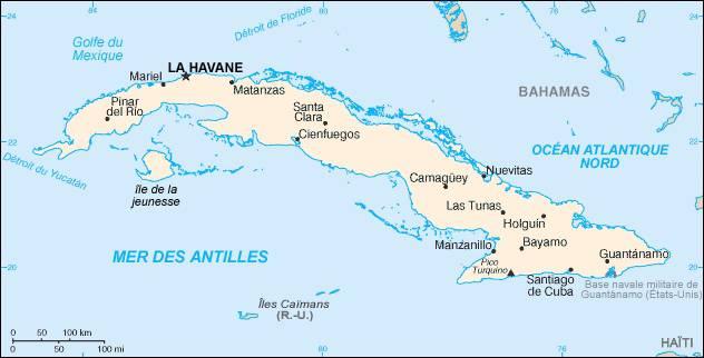 Carte des villes à Cuba