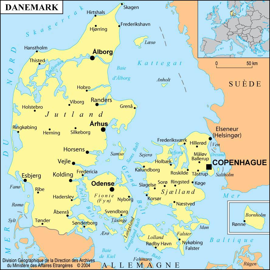 Carte des villes du Danemark