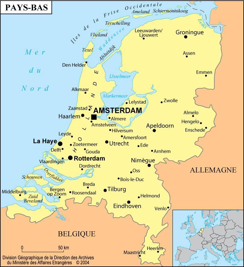 Carte des villes des Pays-Bas