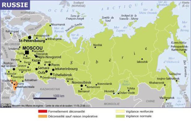 Carte des villes de Russie