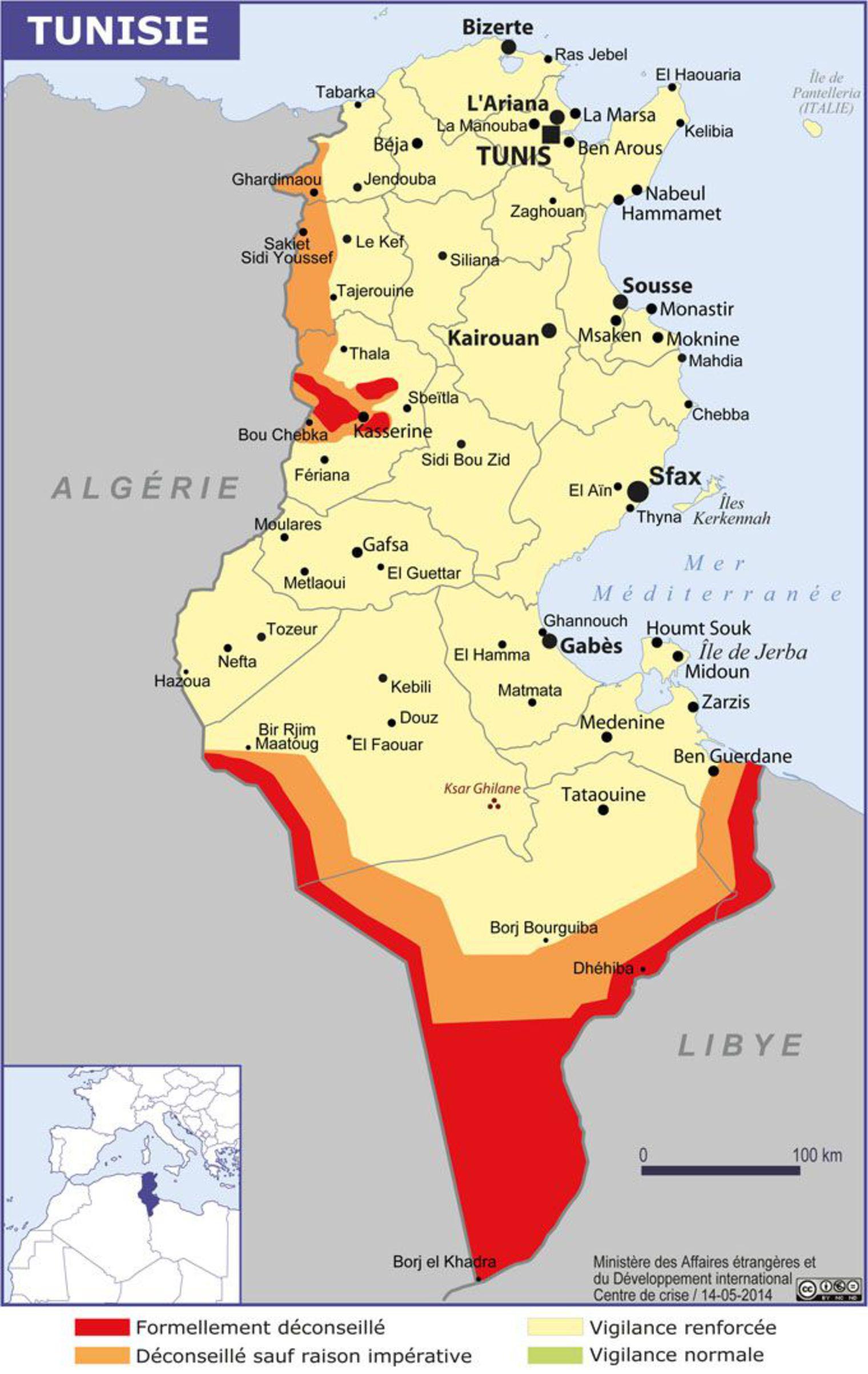 Carte des zones dangereuses en Tunisie