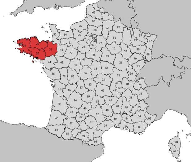 Emplacement et délimitation de la Bretagne en France