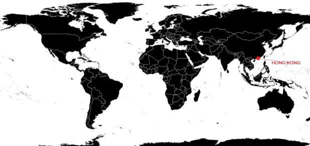 Hong Kong sur une carte du monde