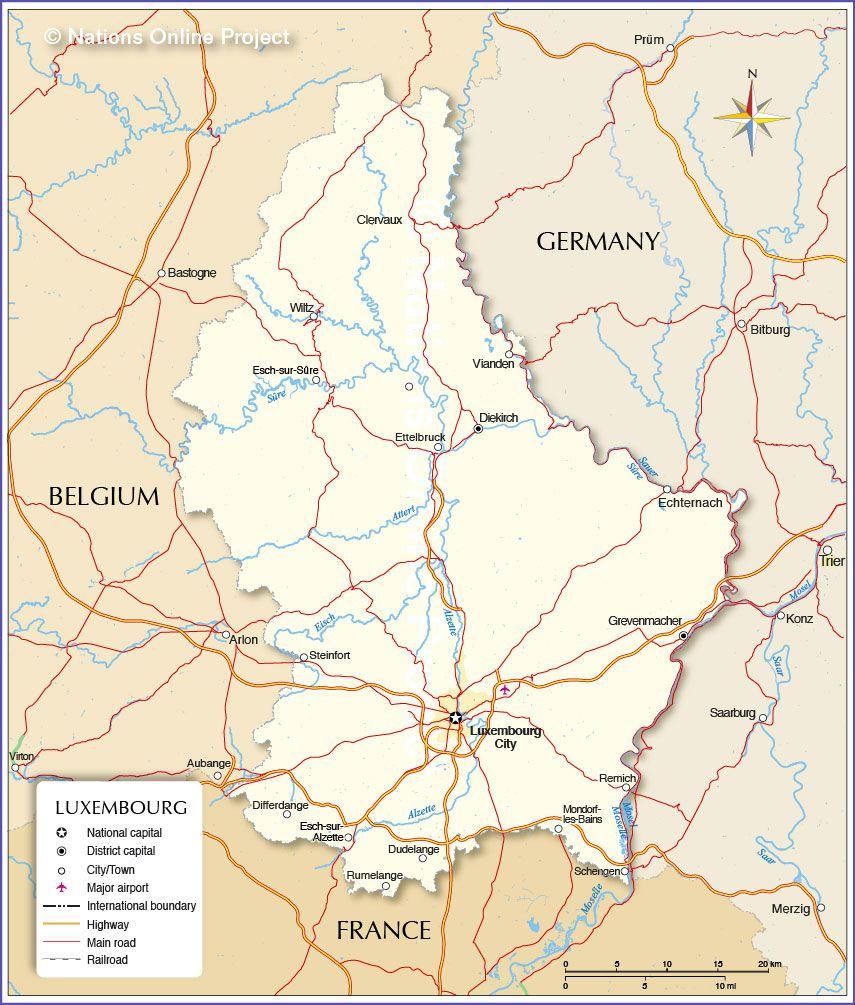 Carte du Luxembourg - Luxembourg carte du relief, villes, politique...