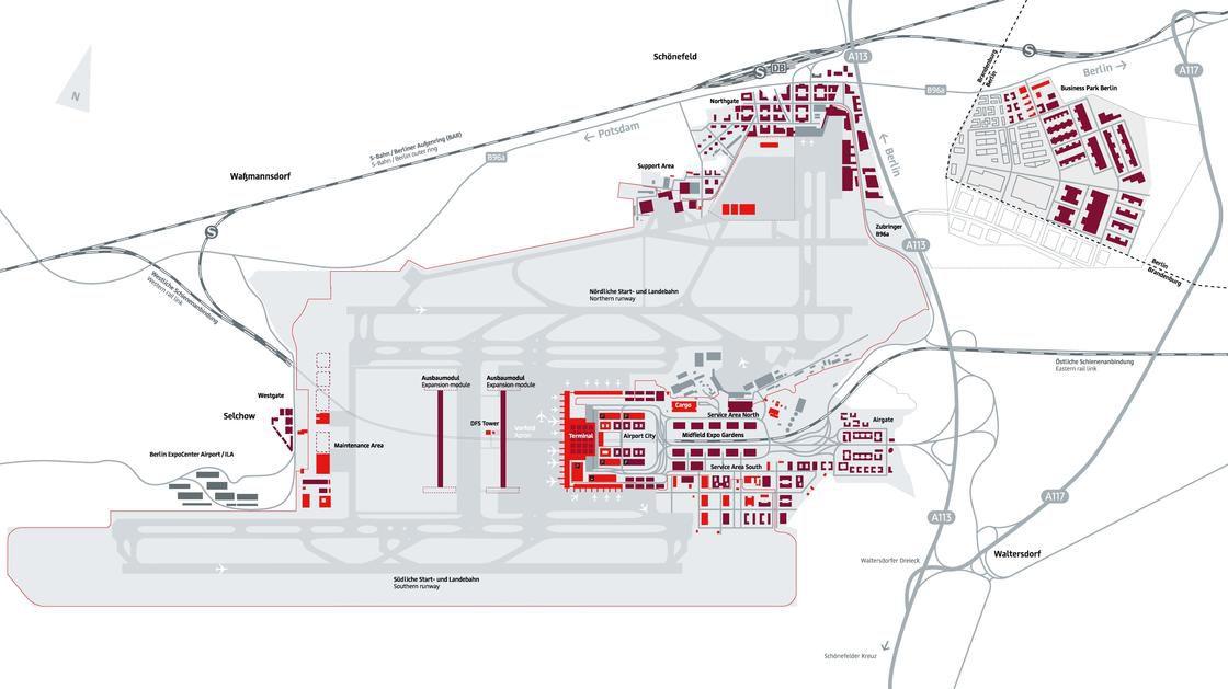 Plan de l'aéroport Brandebourg à Berlin
