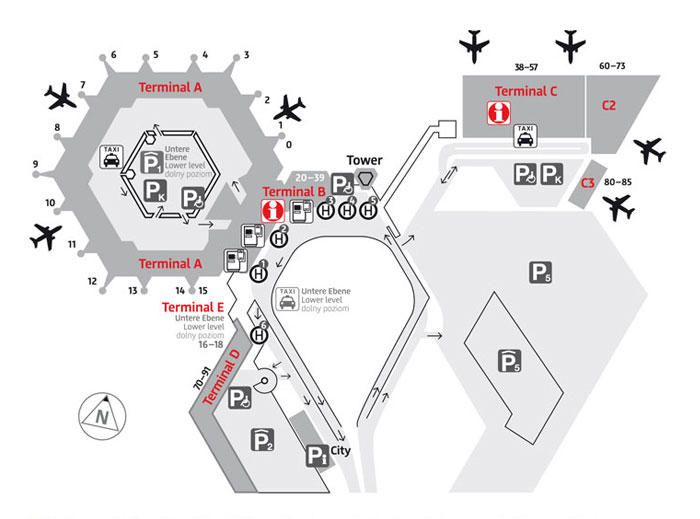 Plan de l'aéroport Tegel à Berlin