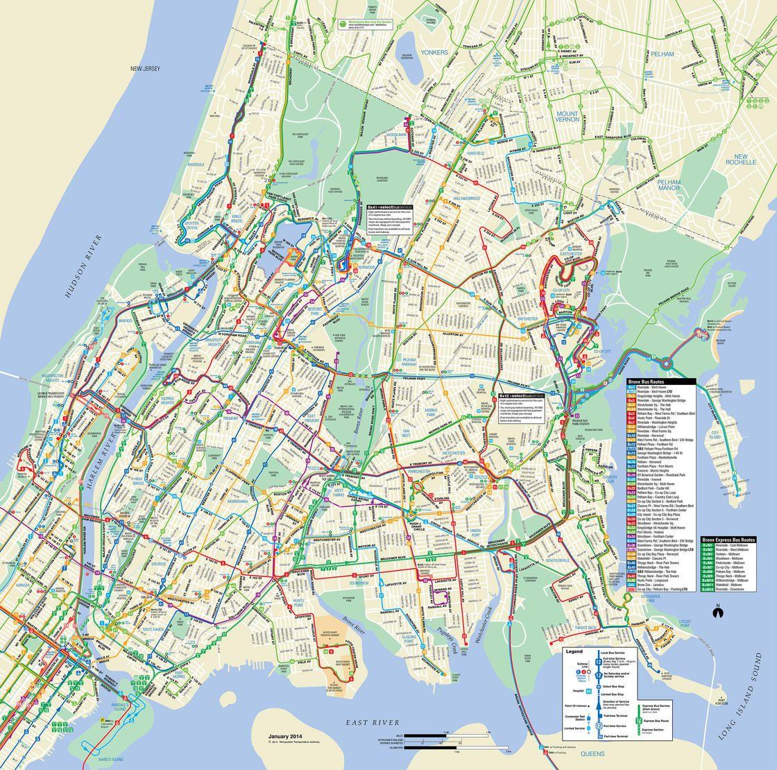 Plan du bus dans le Bronx
