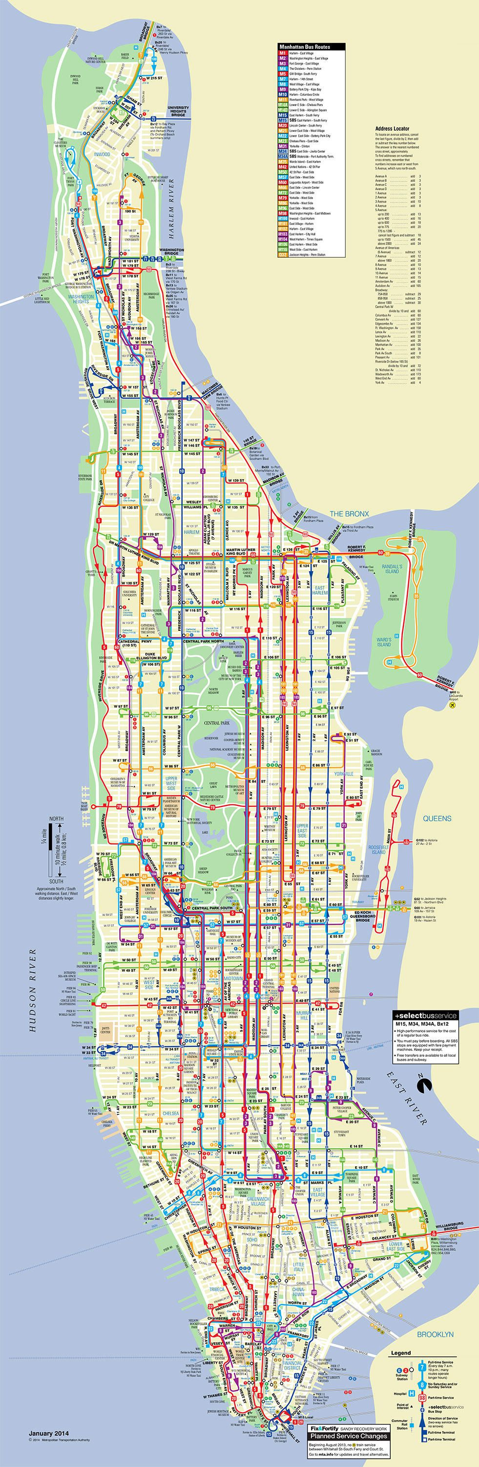 Plan du bus de Manhattan - New York