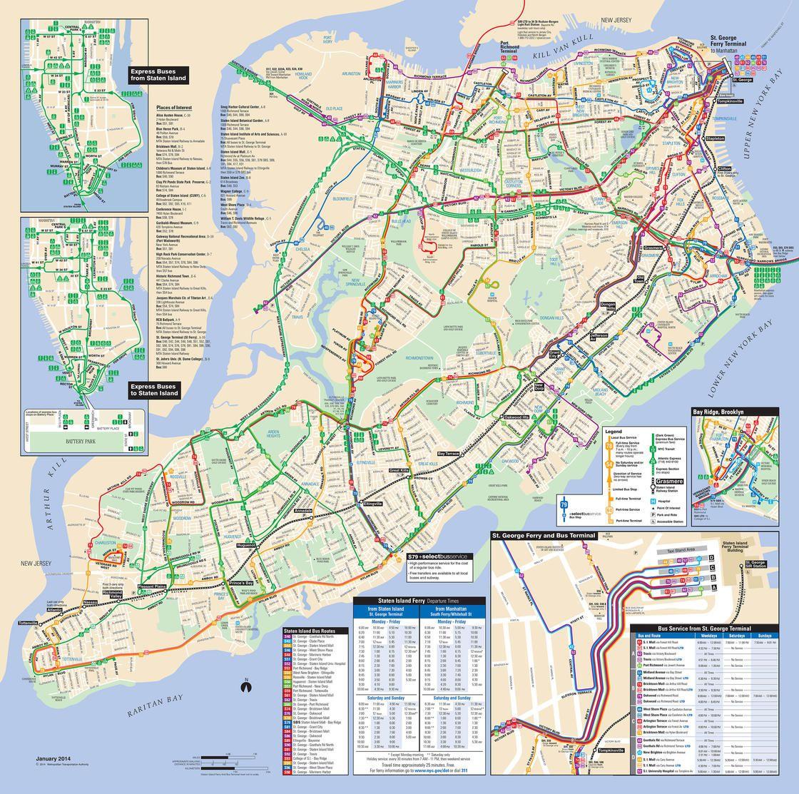 Plan du bus à Staten Island