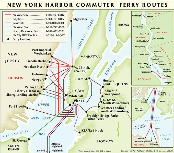 Plan du ferry à New York