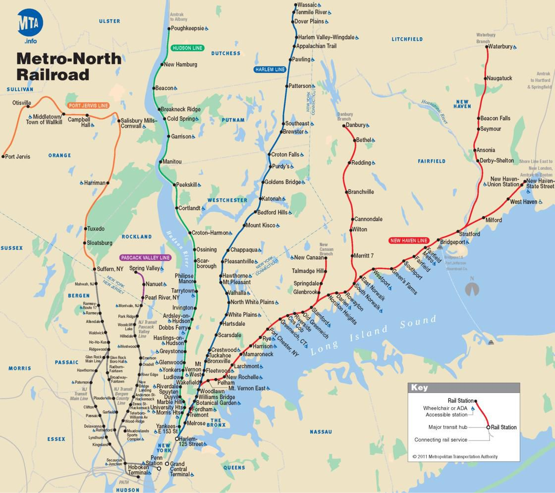 Plan métro North à New York