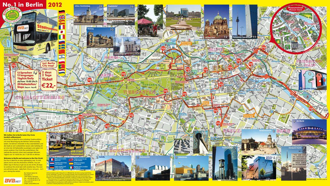 Plan des sites touristiques de Berlin