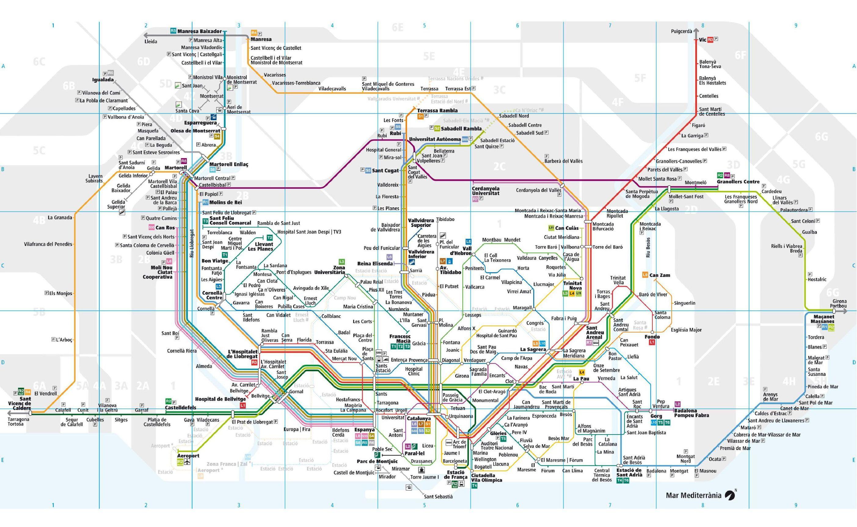 Plan du train urbain de Barcelone