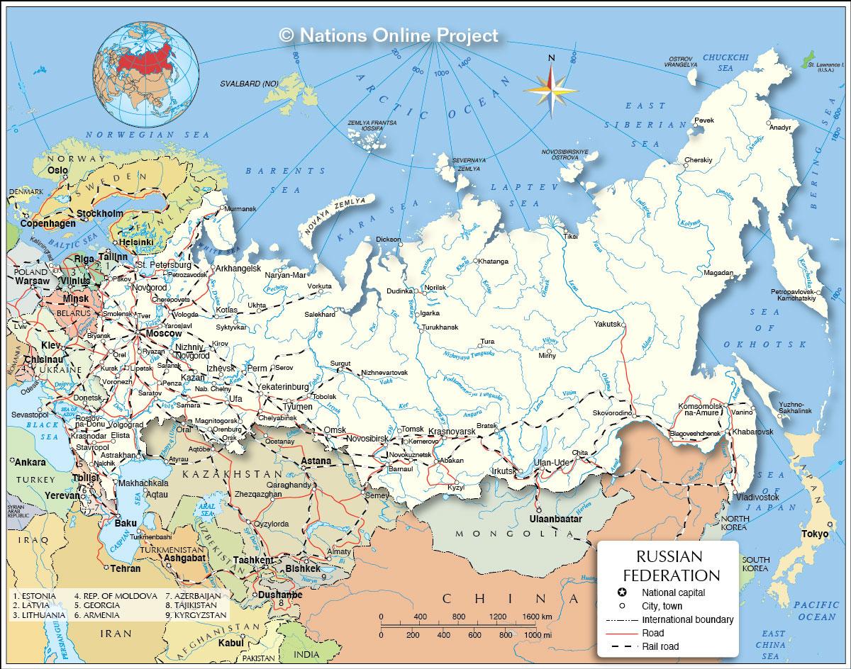 Carte de la Russie - Plusieurs cartes sur le relief ...
